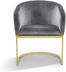 Iconic Home FAC9100-AN Siena Accent Club Chair Shell Design Velvet Upholstered Half-Moon Gold Plated Solid Metal U-Shaped Base Modern Contemporary Grey