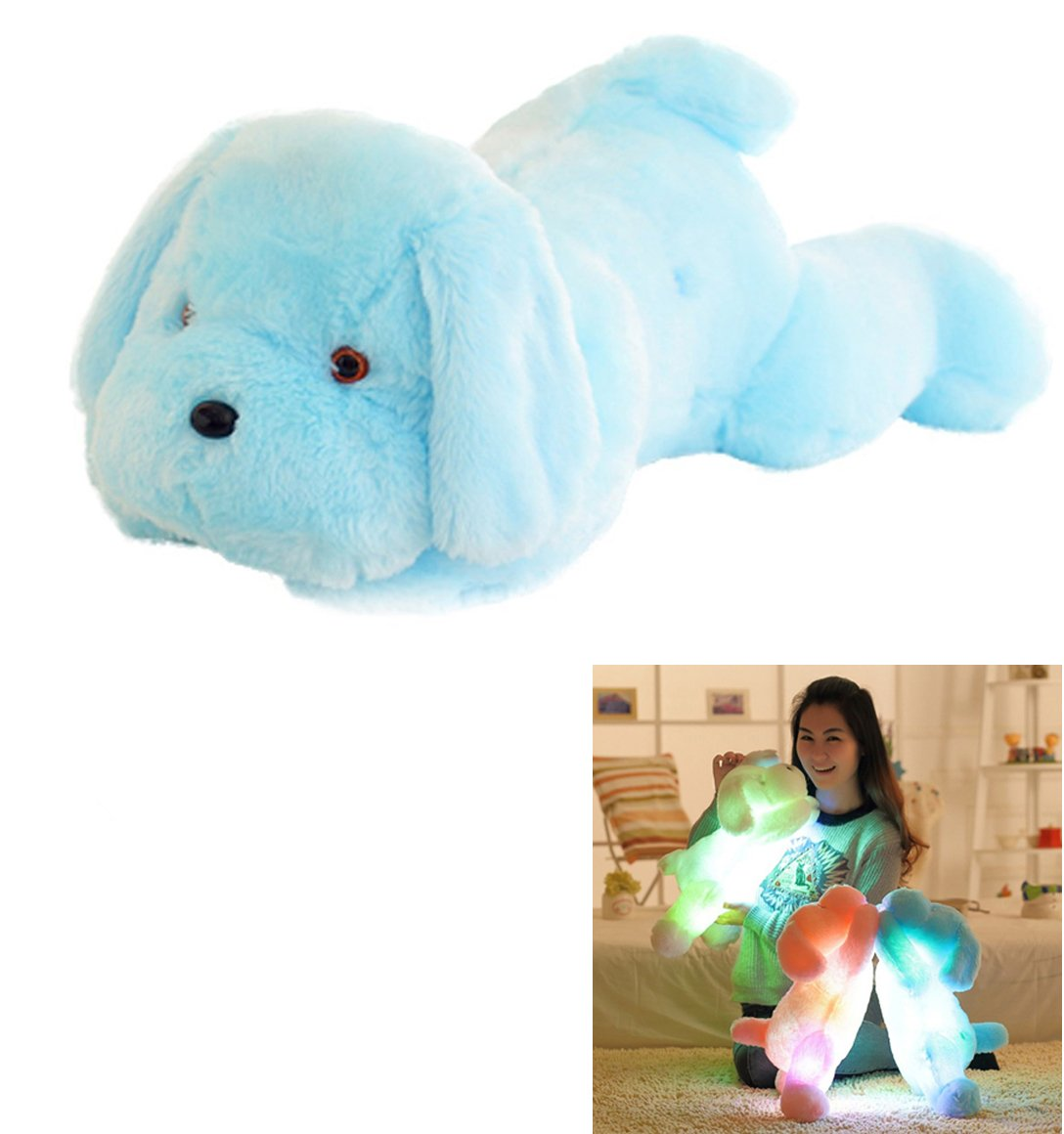 Vivian Inductive Glow Dog Plush Toy LED Nightlight Soft Stuff Toy Gifts for Kids (Blue)