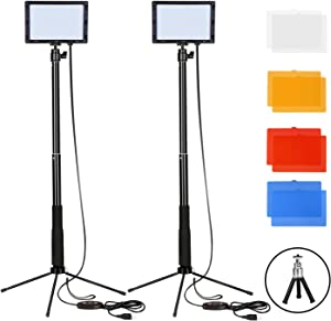FUDESY 2 Sets Dimmable USB 66 LED Video Lights, Portable Continuous Panel Lamp with Adjustable Tripod Stand and 4 Color Filters for Table Top Photography Photo Studio YouTube, FDS66DL2