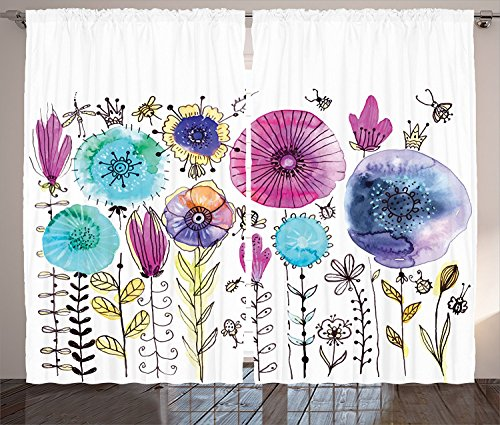 [Country Decor Curtains Hello Summer Concept with Cute Bright Dandelion and Dragonfly Figures Be Happy Art Decor Living Room Bedroom Decor 2 Panel Set Pink Blue,Size:2 x 54