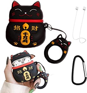 Cute Airpods Case Cover Silicone Protective Skin for Apple Airpods 2 & 1 Charging Case, V-Fyee Air Pods Case Airpod Accessories with White Anti-Lost Strap (Black Cat)