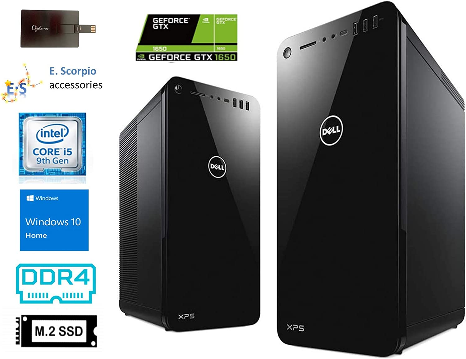 2020 Dell XPS Tower Desktop Computer, 9th Gen Intel Core i5-9400, 32GB RAM, 1TB SSD, 2TB HDD, GeForce GTX 1650 Graphics, Wired KB, Waves MaxxAudio, HDMI, Win 10 Home with E.S 32GB USB Card