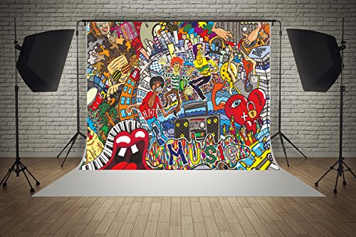 (7ft(W) x5ft(H) Microfiber Graffiti 90s Hip Hop Music Street Art Party Decorations Photography Backdrop Seamless No Creases Folding and Washable Photo Booth Background)