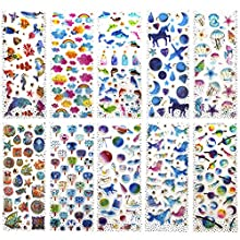 SAVITA 400+ Epoxy Stickers for Kids Girls 3D Puffy Stickers for Bullet Journal Scrapbook Planner Including Seashell/Ocean/Dolphin/Fans/Clouds/Star/Drift Bottles/Unicorn Constellation(10 Sheet)