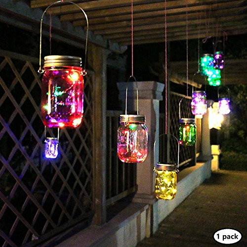 Color Changing Fairy Light, Solar Mason Jar Lid Insert Bottle Light Loading Hanging Lantern for Indoor Outdoor Parties, Evening Dinner or Valentine's Day Decor (Mason Jar & Handle Included) (1 Pack)