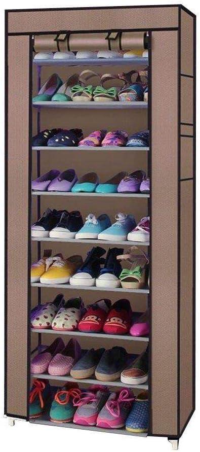 10Layer Rack Shoe W//Cover Organizer Storage Shelf Closet Tier Cabinet Shelves