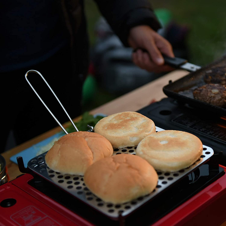 Go System Camping /& Outdoor Toaster F/ür Gas /& Benzin Kocher Faltbar Edelstahl