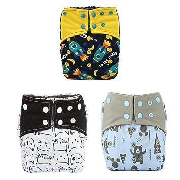 Baby Boy 3 Pcs Reusable Washable Pocket Baby Cloth Diaper Nappy 3 Inserts