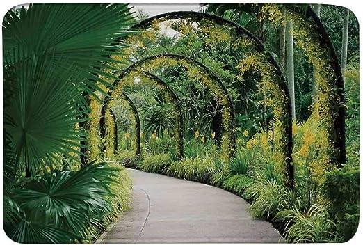 AoLismini Alfombrilla Antideslizante para decoración campestre, Arcos Artificiales escénicos con Muchas orquídeas en el jardín botánico Alfombrilla de Parque Tropical para Sala de baño: Amazon.es: Hogar