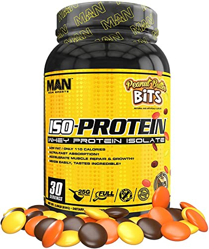 Man Sports Iso Protein. Peanut Butter Bits Flavored Gluten Free Whey Protein Powder for Muscle Growth and Repair 30 Servings
