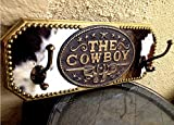 """the Cowboy"" Heavy Cowhide & Wood Construction Coat, Hat Or Tack Hook Rack"