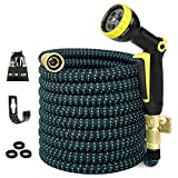 50FT Expandable Garden Hose, Water Hose with 3/4 inch Solid Brass Fittings, 50' Expanding Hoses with Extra Strength Fabric, Outdoor Flexible Hose with Multi-Layer Latex Core, Lightweight Yard Hose