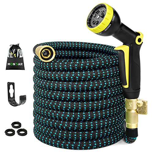 50FT Expandable Garden Hose, Water Hose with 3/4 inch Solid Brass Fittings, 50' Expanding Hoses with Extra Strength Fabric, Outdoor Flexible Hose with Multi-Layer Latex Core, Lightweight Yard Hose by monyar