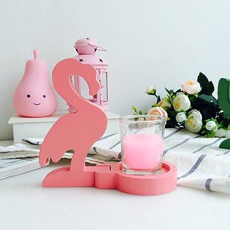 Amazon.com: Retro Rustic Wooden Candlestick Holder Flamingo Cactus ...