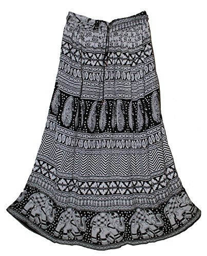 Fashion of India Women Indian Crinkle Broomstick Gypsy Long Skirt Hippie Ethnic Womens (Multi Colour 4)