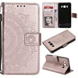 Galaxy J5 2016 Floral Wallet Case,Galaxy J5 2016 Strap Flip Case,Leecase Embossed Totem Flower Design Pu Leather Bookstyle Stand Flip Case for Samsung Galaxy J5 2016-Rose Gold