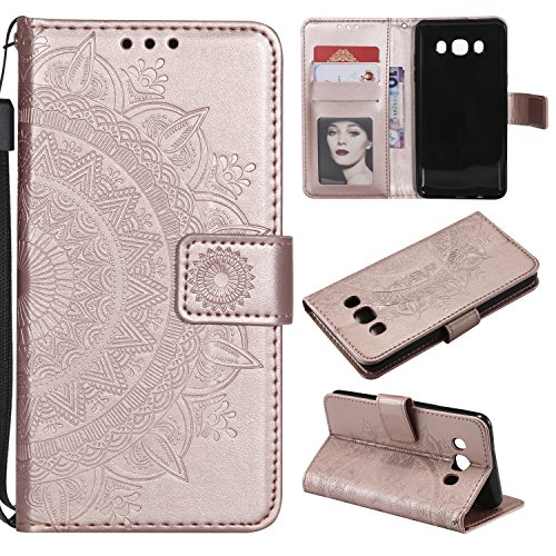 Galaxy J5 2016 Floral Wallet Case,Galaxy J5 2016 Strap Flip Case,Leecase Embossed Totem Flower Design Pu Leather Bookstyle Stand Flip Case for Samsung Galaxy J5 2016-Rose Gold by Leecase
