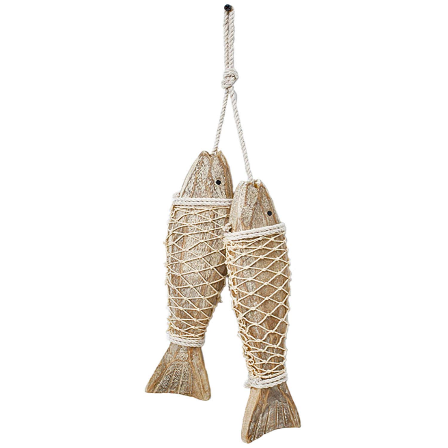 D-Fokes Hanging Vintage Wooden Fish Wall Art Decor Handcrafts Mediterranean Style Home Decor Nautical Theme Wall Ornament 12.6 inch Tall