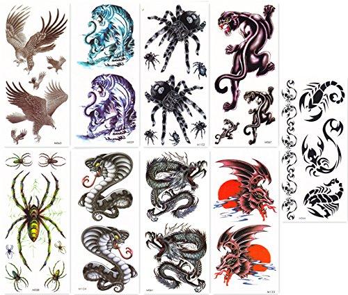 DaLin Temporary Tattoos for Guys 9 Sheets Hawks, Dragon, Spide, Tiger, -