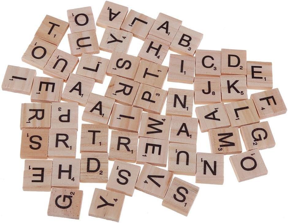demiawaking madera azulejos juego completo de 100 Scrabble de madera letras del alfabeto y números para manualidades juegos de mesa para niños educación temprana: Amazon.es: Hogar
