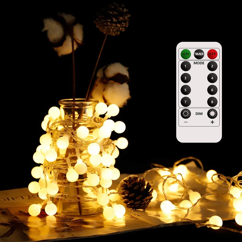 Globe String Lights 33FT 100LED Warm White Decorative Fairy String Lights Battery Operated LED String Lights with Remote 8 Modes Ball Lights for Indoor Outdoor Party Wedding Christmas Garden