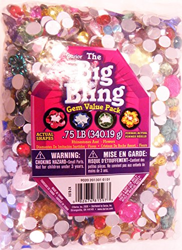 Darice 1078-24 Big Bling Flowers and Round Gem Value Pack Rhinestones, Multicolor