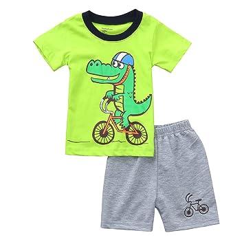 db3e9bd99370 Cyhulu Infant Baby Boy Summer Suits Set Short Sleeve Cute Cartoon Crocodile  Print Shirt Top+