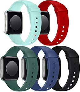 5 Pack Band Compatible with Watch 38mm 40mm Bands, Silicone Sport Strap Replacement Women Men for Watch Series SE 6 5 4 3 2 1 - Turquoise/Red/Pine Green/Alaskan Blue/Black, 38mm 40mm S/M