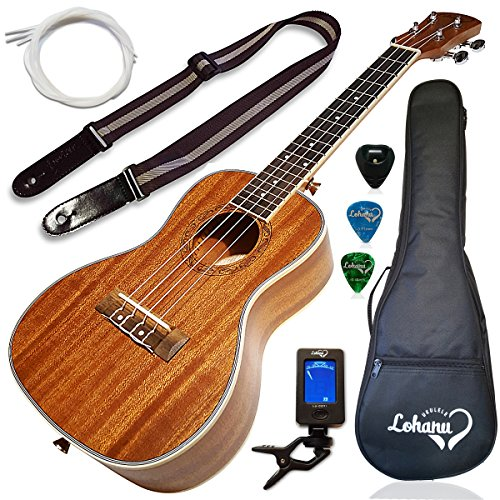 Ukulele Concert Size Bundle From Lohanu (LU-C) 2 Strap Pins Installed FREE Uke Strap Case Tuner Picks Pick Holder Aquila Strings Installed Free Video Lessons