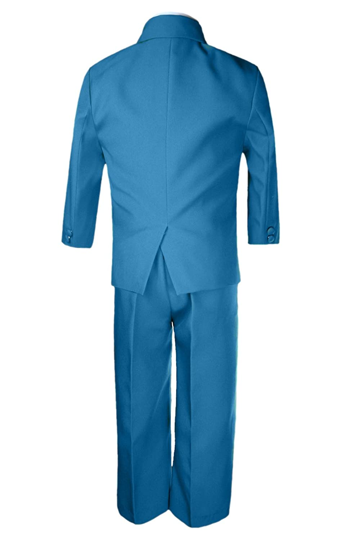 Unotux 6pc Boy Teal Greenish Blue Tuxedo Suits Satin Dark Gray Necktie Baby Teen
