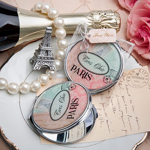 Pretty Paris-Themed Mirror Compact Favor, 96 by Fashioncraft