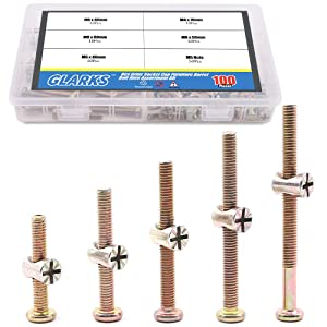 Glarks 100Pcs Zinc Plated M6 Hex Socket Head Cap Screws Bolts Furniture Crib Bolts with M Barrel Nuts Assortment Kit - 40mm / 50mm / 60mm / 70mm / 80mm
