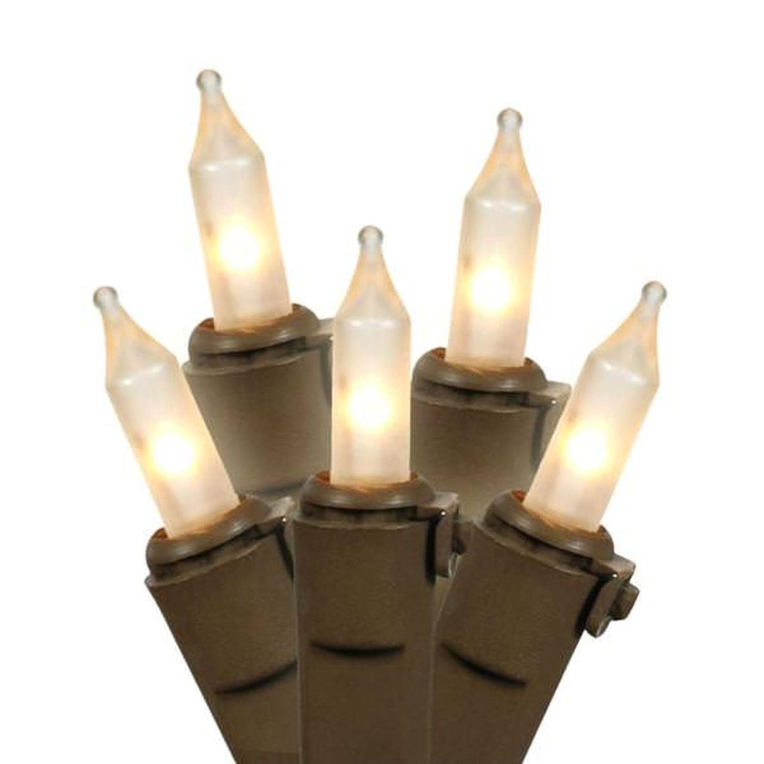 Set of 50 Frosted White Mini Christmas Lights 6'' Spacing - Brown Wire