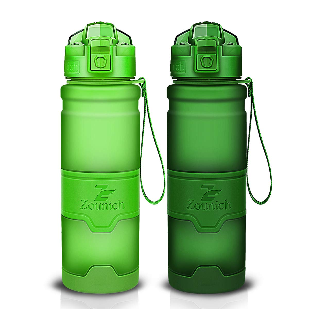 Sports Water Bottle Plastic Drinking Bottles BPA Free Leakproof with filter&time marker&Scratch Resistant,Flip Top With 1 Click Reusable For Kids,400/500/700ml/1L,60oz,for Outdoor,Cycling,Camping,Gym