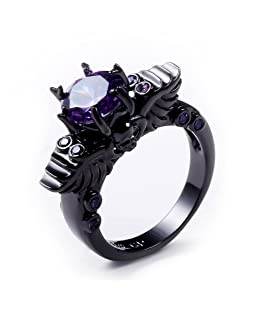 JAJAFOOK Unisex's Purple Zircon Plated Black Gold Skull Ring Vintage Wedding Engagement Jewelry