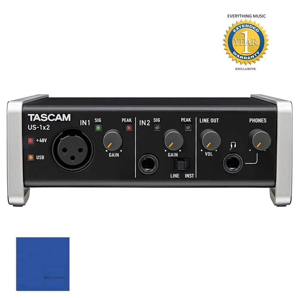 Tascam US-1X2 1-In/2-Out USB Audio & MIDI Interface with 1 Year EverythingMusic Extended Warranty Free