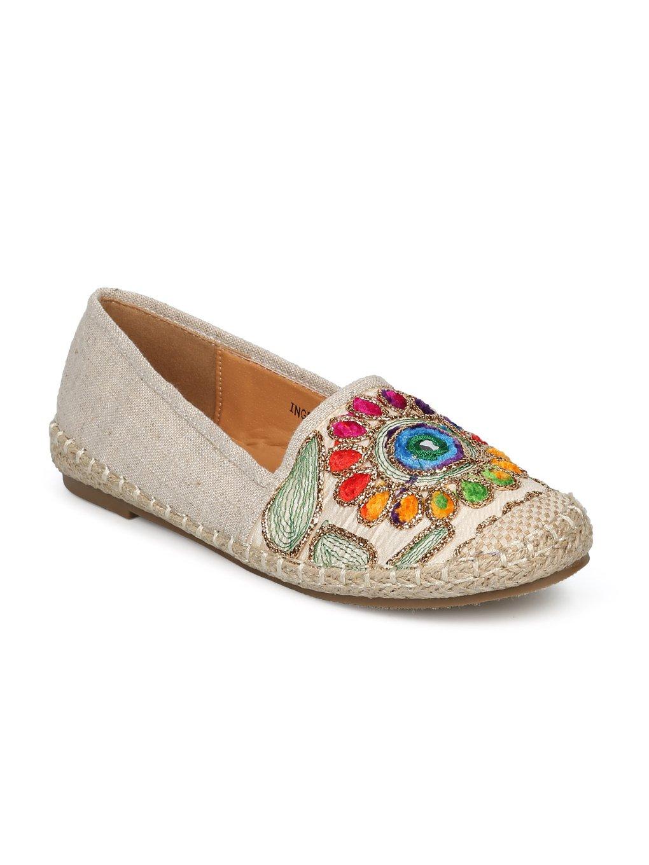 Women Linen Embroidered Nature Espadrille Flat HE51 - Beige Mix Media (Size: 10)