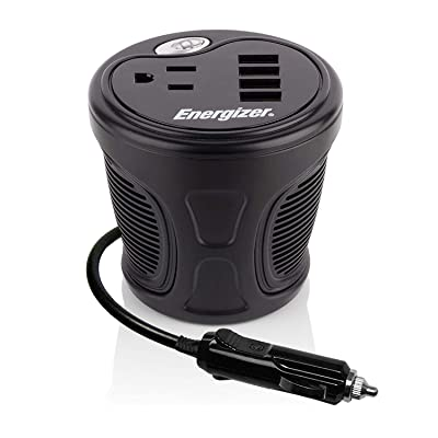 Energizer 150 Watt Cup Inverter - 4 USB Ports, 2.4A Each, 48 Watt, 12V DC Cigarette Lighter to 120V AC, Power Laptop, Notebook and Portable Electronics Plus USB Ports Compatible with iPad and More: Car Electronics