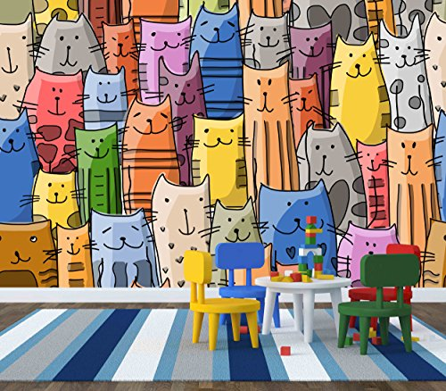 Mural Pattern - wall26 - Funny Cats Family, Seamless Pattern for Your Design. Vector Illustration - Removable Wall Mural | Self-adhesive Large Wallpaper - 100x144 inches