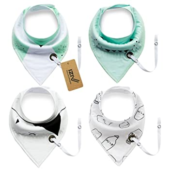 Color-7 Absorbent Soft Cotton Lining 0-2 Years iZiv 4 PACK Baby Bandana Drool Bibs with Adjustable Snaps