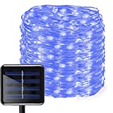 Aluvee Solar String Lights,50ft/150LED Outdoor Garden Decoration Copper Wire Christmas Rope Lamp for Wedding Party Tree Xmas Decoration Tree Xmas (Blue)