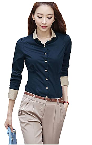 41c53cc3d86e54 Amazon.com: Comvison Long Sleeve Women Shirt Blue Casual T-shirt Women  Button Down Shirt Office Wear: Clothing