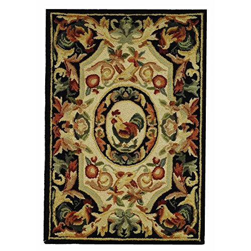 Safavieh Chelsea Collection HK48K Hand-Hooked Ivory and Black Premium Wool Area Rug (1'8