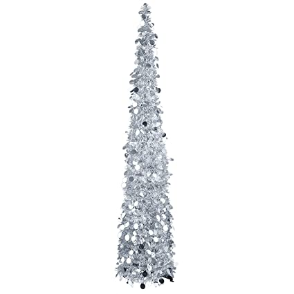 Amazon.com: MACTING 5ft Pop up Christmas Tinsel Tree with Stand Easy ...