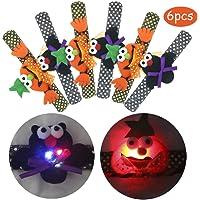 6-Pack Halloween Light Up Slap Bracelets for Kids and Adults
