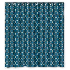 "Honeycomb Navy Blue and Orange Lattice Waterproof Bathroom Shower Curtain 66""(W) x 72""(H)"