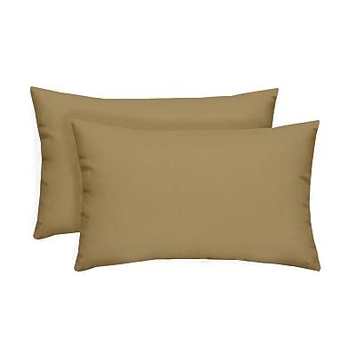 Resort Spa Home Decor Set of 2 Indoor/Outdoor Decorative Lumbar/Rectangle Pillows - Solid Tan : Garden & Outdoor