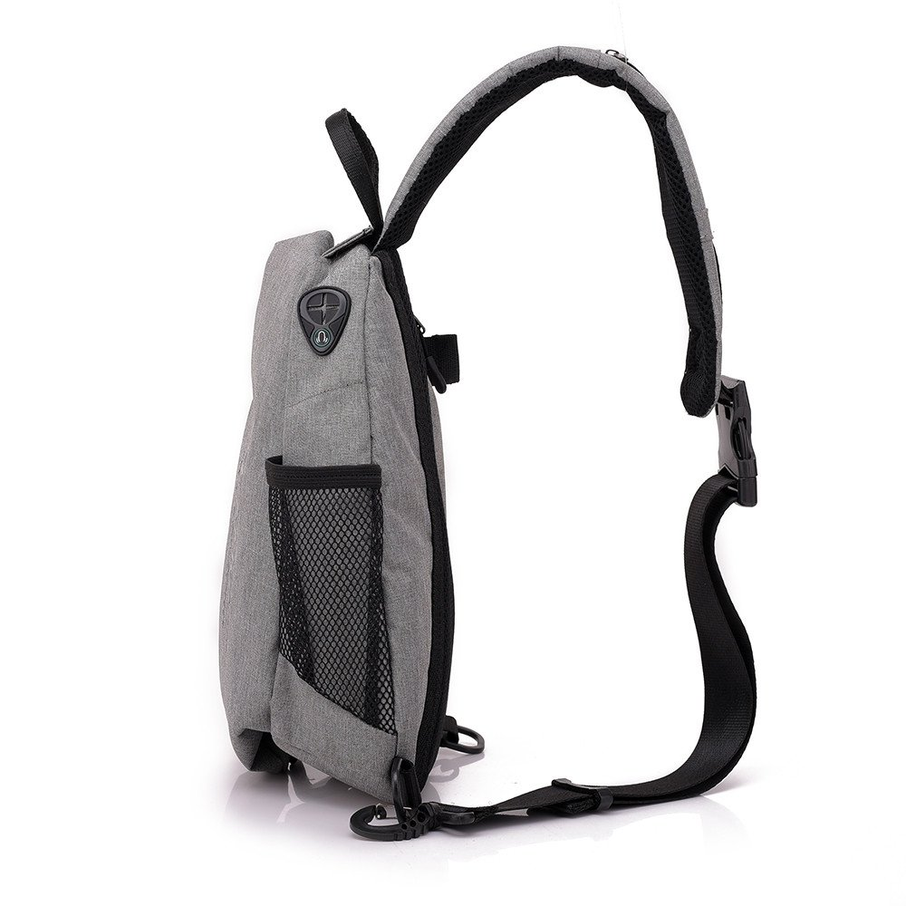 Businda Sling Bag, Bike Riding Crossbody Pack with Earphone Hole USB Charging Hole Waterproof Daypacks for Gym Sport Men Women