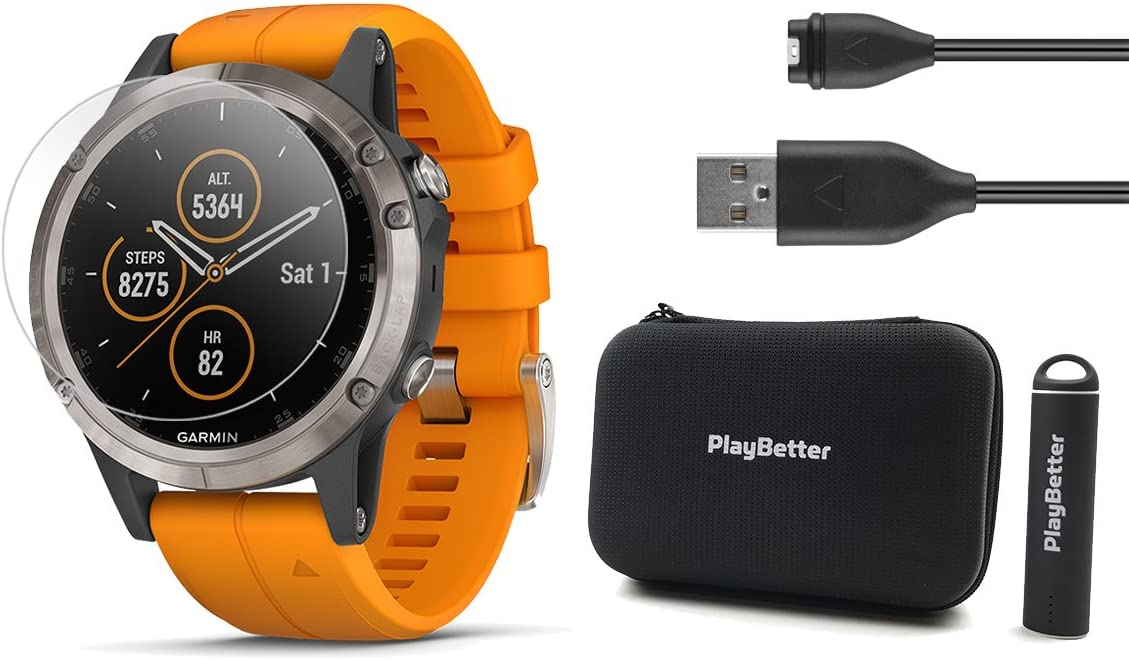 Garmin Fenix 5 Plus Sapphire Bundle with Screen Protectors, PlayBetter Portable Charger Protective Case Multisport GPS Watch, TOPO Maps, Garmin Pay, Music Titanium with Orange Band