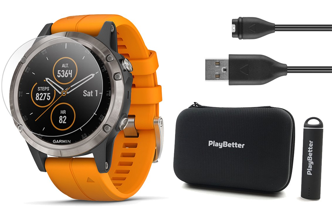 Garmin Fenix 5 Plus+ Sapphire Bundle with Screen Protectors, PlayBetter Portable Charger & Protective Case | Multisport GPS Watch, TOPO Maps, Garmin Pay, Music (Titanium with Orange Band)